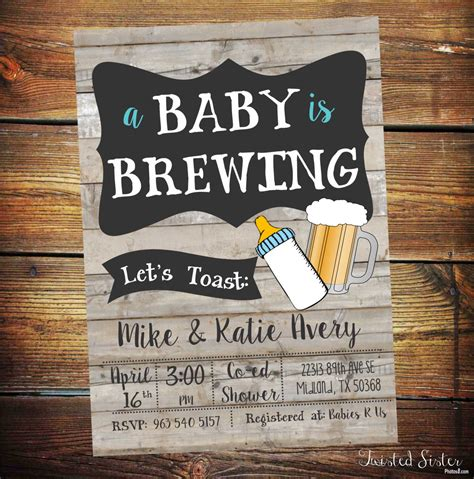 What Is Co Ed Baby Shower by A Baby Is Brewing Invitation Baby Shower Invitation
