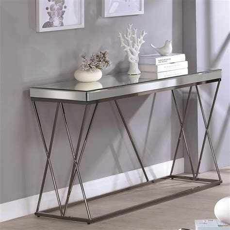 coaster sofa table coaster 70547 705479 contemporary mirrored sofa table with