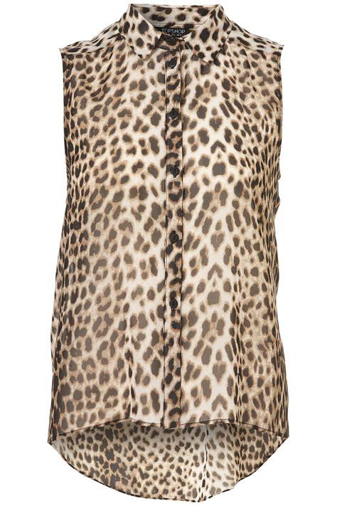 Animal Print Shirt lyst topshop sleeveless animal print shirt in brown