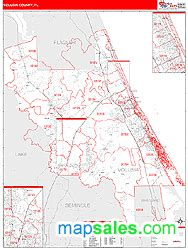 Zip Code Map Volusia County | volusia county fl zip code wall map red line style by