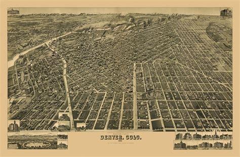 Home Decor Colorado Springs vintage poster old map of denver colorado 1889 denver city