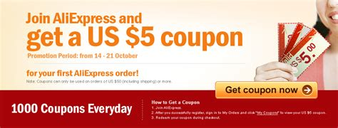 aliexpress kupon join free and get a us 5 coupon for your first order