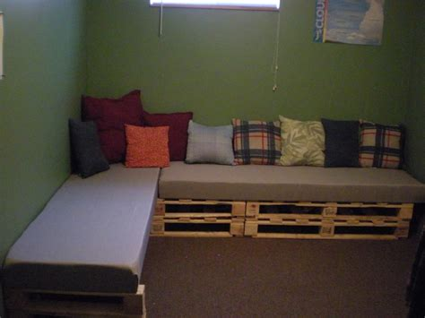 upholstery foam fabricland pallet sectional couch made with pallets cut in half then