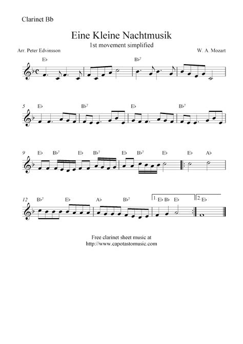 printable sheet music for clarinet eine kleine nachtmusik free clarinet sheet music notes