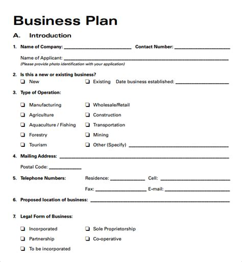 Business Template Free free business plan templates 2016 free business template
