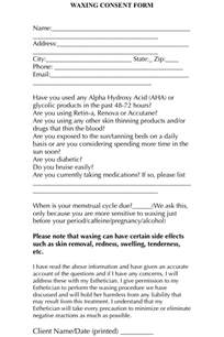 your client form template a simple and easy waxing consent form for your clients to