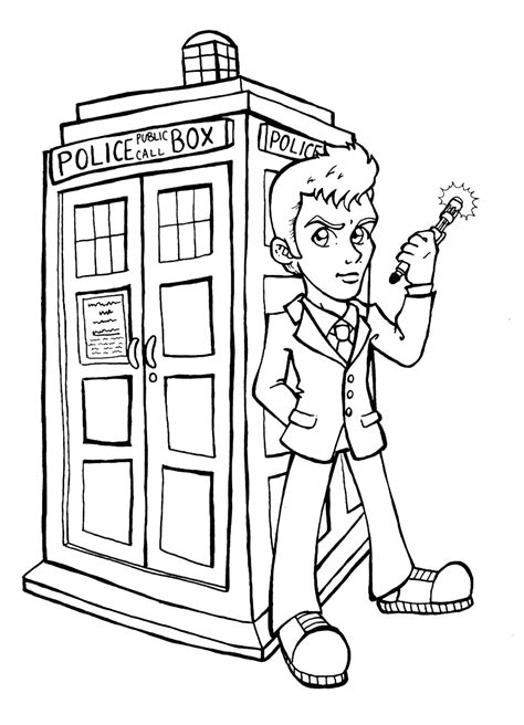 tardis free colouring pages