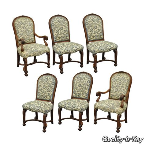 Set Of 6 Dining Room Chairs Set Of 6 Antique Carved Solid Walnut Renaissance Revival Dining Room Chairs Ebay