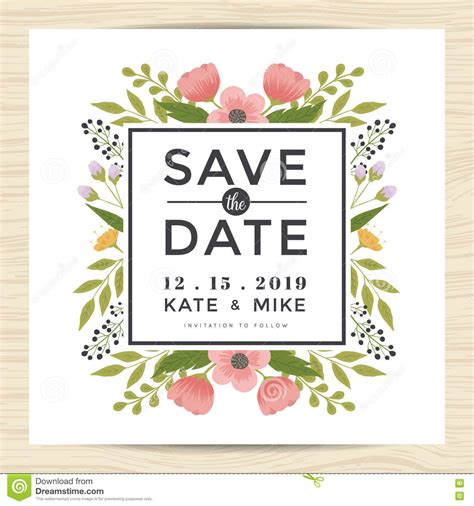 savings card template floral invitation card vector illustration