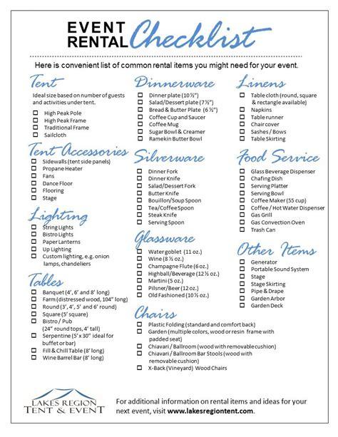 Wedding Linen Checklist by Tent Rentals Rentals Checklist Lakes Region Tent