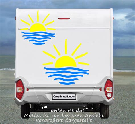 Wohnmobil Aufkleber Sonne by Sonnen Aufkleber Set Wohnmobil Oder Wohnwagen Ebay