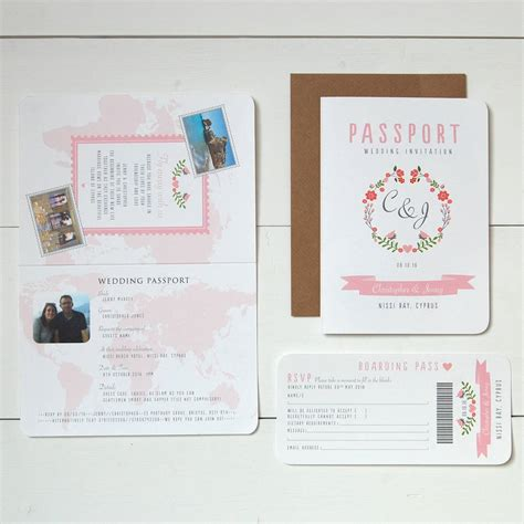 Wedding Invitation Card Passport by Floral Passport To Wedding Invitation And Rsvp By