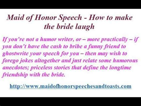 Maid of Honor Speech How to make the bride laugh   YouTube