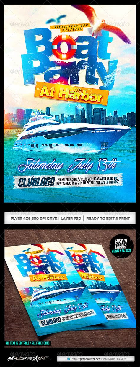 Boat Party Flyer Template Psd By Industrykidz Graphicriver Free Boat Flyer Template