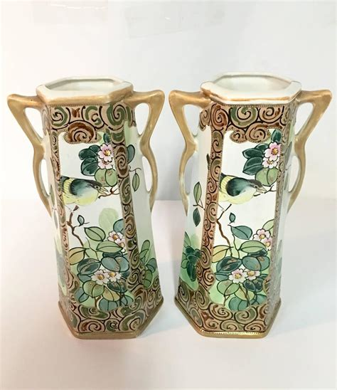 Nippon Vases by Pair Of Antique Royal Nippon Painted Bird And Flora
