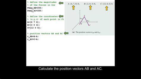 matlab tutorial vector using matlab to define coordinates find magnitudes and