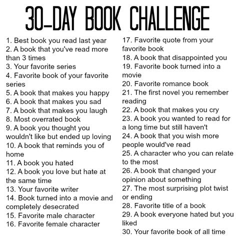 30 days of books book challenge multicatable
