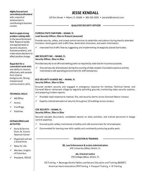 cv template for security guard 10 professional security officer resume sle writing