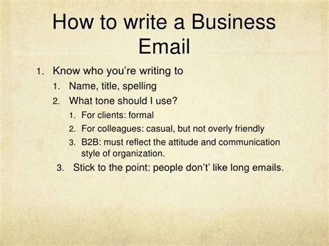 how to write a business email writing session 1