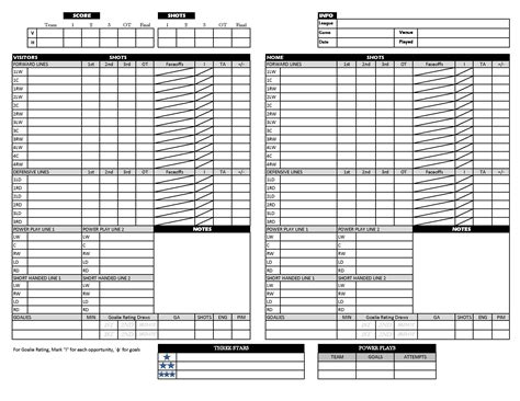 hockey score sheet hockey scoresheet strat o matic extras