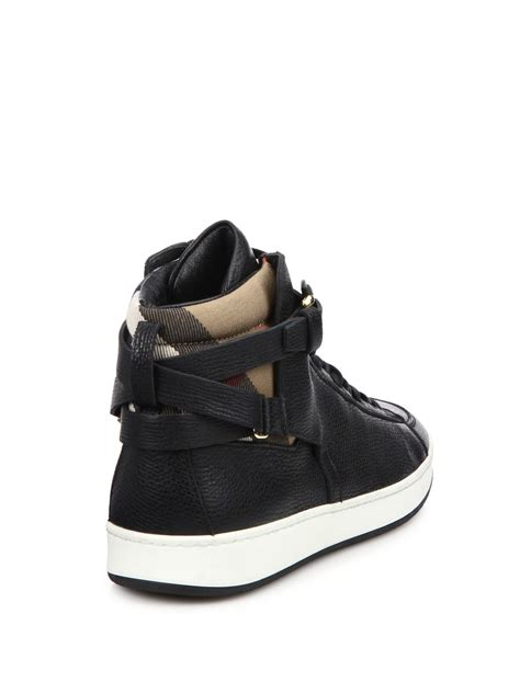 black leather high top sneakers womens burberry folkington leather high top sneakers in black lyst