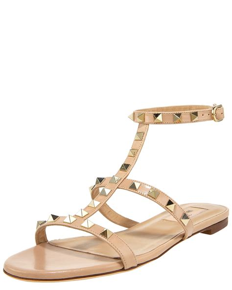 valentino flat studded shoes valentino studded gladiator flat sandal sand in beige