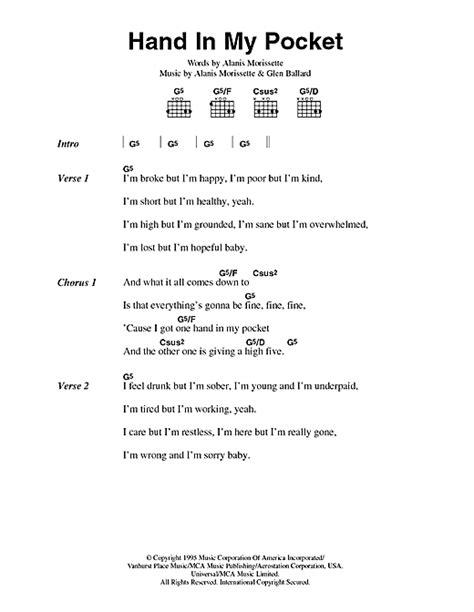 pattern hands lyrics hand in my pocket sheet music by alanis morissette lyrics