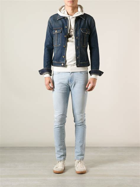 Jaket Sweater Marshall Lification lyst dolce gabbana cropped denim jacket in blue for
