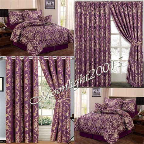 bedding with curtains jacquard luxury 7 piece purple comforter set bedspread