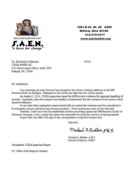Complaint Letter Veterinarian M P I Research L L C Mattawan Mi Usda Letter Of Complaint 8 Sep 2011 Michigan Facility