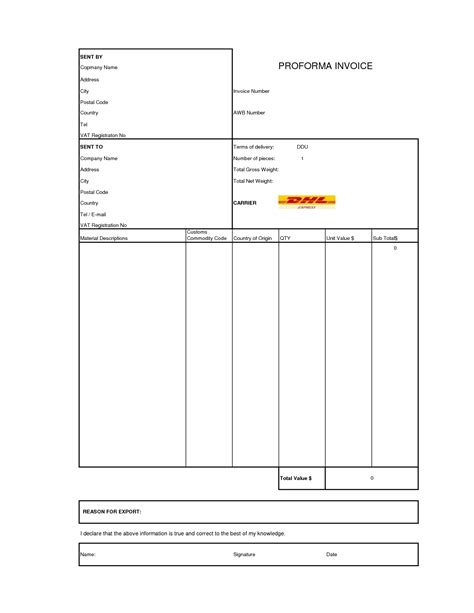 dhl commercial invoice template proforma invoice dhl invoice template ideas