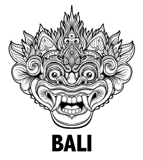 barong traditional ritual balinese mask vector