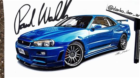 nissan skyline drawing by fast furious 4 nissan skyline r34 gt r speed drawing by