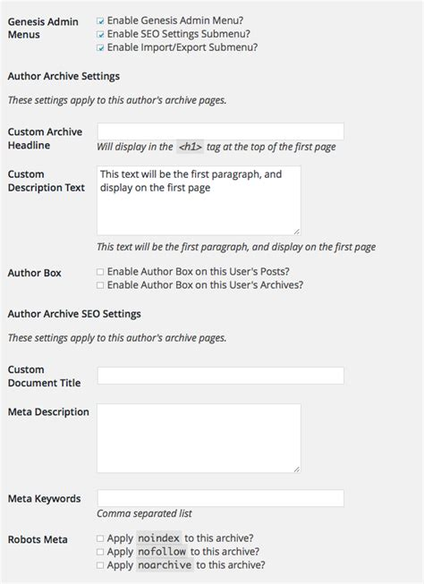 layout and view options for user author pages remove genesis author archive archive seo settings from