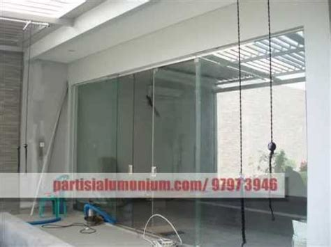 Tempered Glass Pintu partisi frameless aluminium kaca tempered laminated pintu frameless pintu lipat kaca