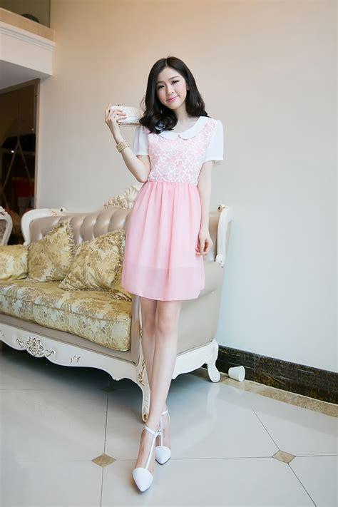 Minidress Brukatdress Brukat mini dress korea sifon bunga model terbaru jual murah import kerja