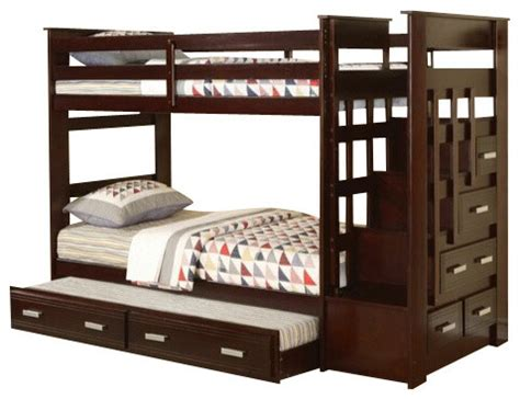 Bunk Bed With Steps And Drawers by Espresso Finish Wood Bunk Bed Set With