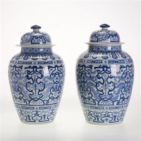 chinese ginger jars pair large chinese blue and white ginger jars