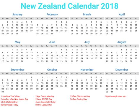 printable calendar nz 2018 new zealand calendar 2018 download printcalendar xyz