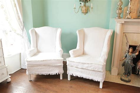 shabby chic slipcovers for wingback chairs home