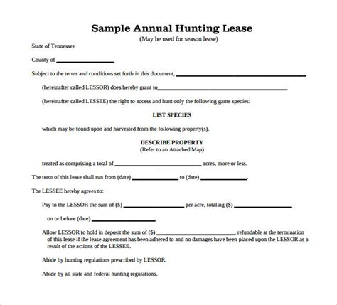 printable hunting lease agreement hunting lease agreement lease agreement template 15