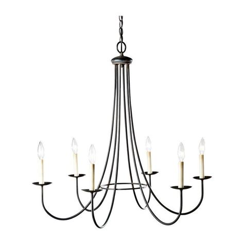 Simple Black Chandelier Six Light Iron Candelabra Chandelier
