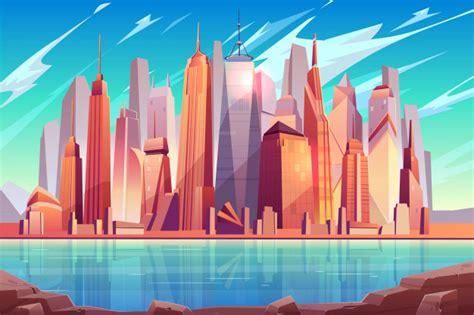 future metropolis downtown modern city business center cartoon background vector