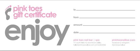 manicure gift certificate template pink toes nail bar spa