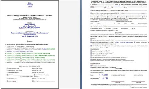 relazione tecnica impianto elettrico appartamento aerazione forzata esempio di dichiarazione di conformita