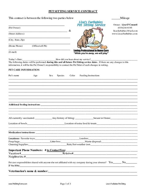 Pet Sitting Contract Templates Dogs Pinterest Pet Sitting Template And Dog Pet Sitter List Template