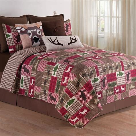 Rv Bedding Sets Happy Cer Lodge Log Cabin King Quilt 2 King Shams Mini Bed Set