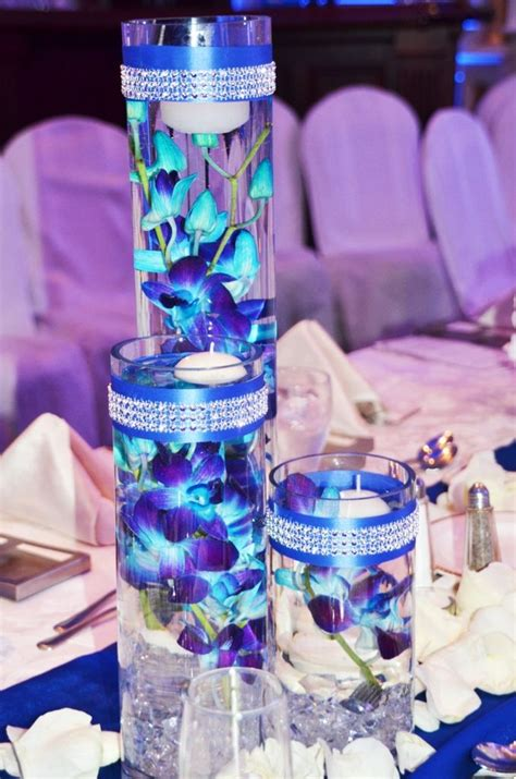 Without The Ribbon And Jewels Love Blue Orchids This Blue And Purple Centerpieces For Weddings