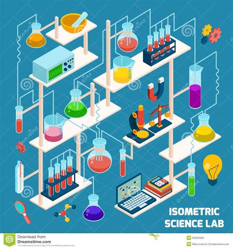 isometric science lab stock vector image 50594945