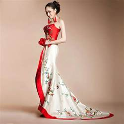 asian wedding dresses strapless embroidered floral trailing asian inspired wedding dress modern qipao